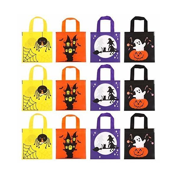 LOKIPA ギフトバッグ 巾着袋 ハロウィン 12枚セット かぼちゃ- 幽霊 魔女 20x23cm キャンディバッグ お菓子バッグ