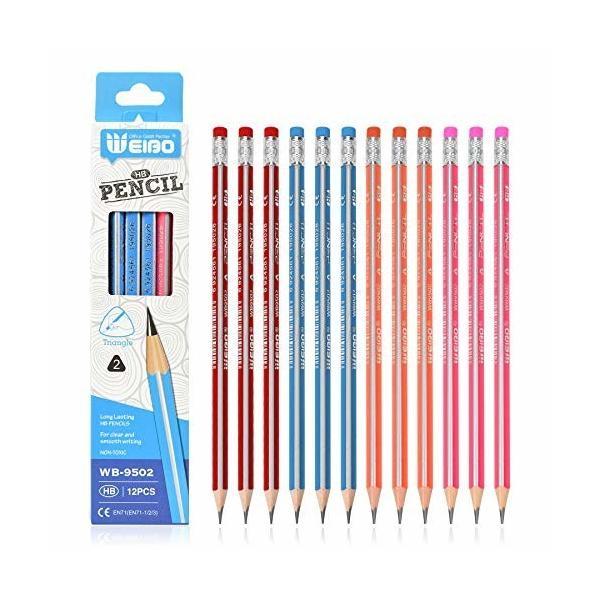 消しゴム付きHB鉛筆学校用と子供用の鉛筆12本セット (ブルー)