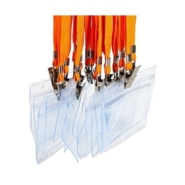 LKY 名札 ID カード ホルダー ネックストラップ 名刺 社員証 ケース 入れ 首かけ 展示会 防水 セット 横型 タイ