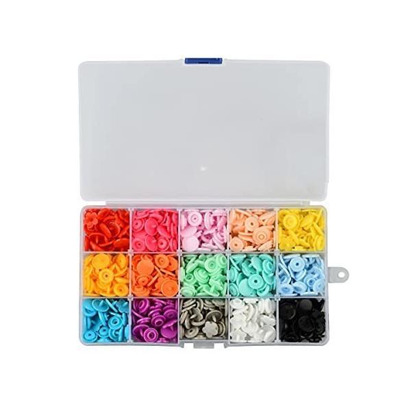 スナップボタン プラスナップ 手芸 丸型 花型 11.8mm T5対応 カラフル 手芸 diy 手作り 裁縫材料 収納ケース付き