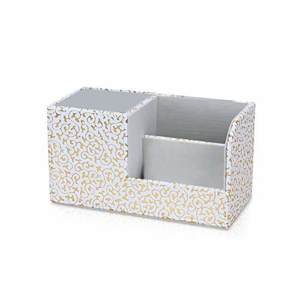 MARSACEペンスタンド 鉛筆収納ラック 筆立て 小物収納ボックス PUレザーボックス 卓上収納ケース リモコンラッ