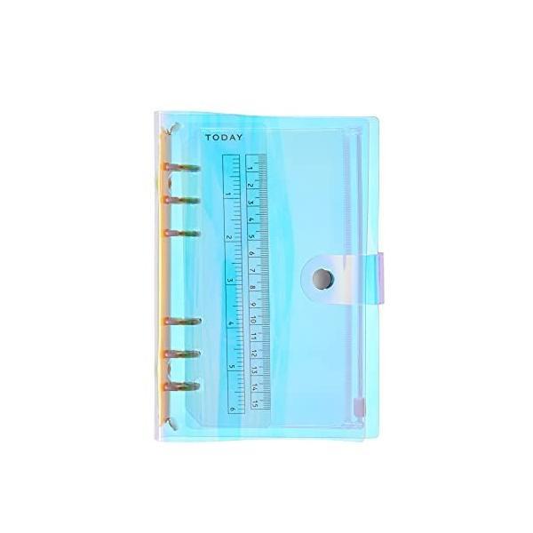 GLEN彩虹色PVCなシステム手帳 A7 6穴 バインダー システム手帳 プランナー ルーズリーフ ファイロファックスノ