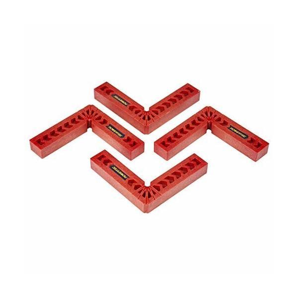 コーナークランプ スコヤ 固定工具 90度 直角定規 10x10cm L形 額縁 木材 圧着 4個セット POWERTEC 71124