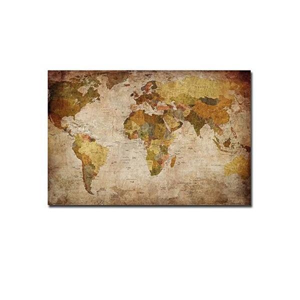 レモンツリーART 世界地図 キャンバスアートパネル アンティーク風世界地図 アートフレーム キャンバス絵画