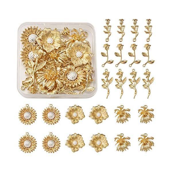 24個/箱 6種類 ライトゴールド 花 合金ペンダント ローズ 薔薇 ひまわり チャーム アクセサリーパーツ ジュエ