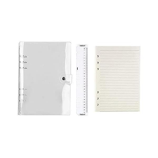ルーズリーフ手帳 A5 ボダン付き 透明 軽量 手帳カバーメモ (ケース+内ページ )スタンダードタイプ ビジネス