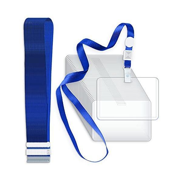 Poven IDカードホルダー 50枚セット ネックストラップ付き ネームホルダー 横型 IDカード/ICカード/名刺/社員証/