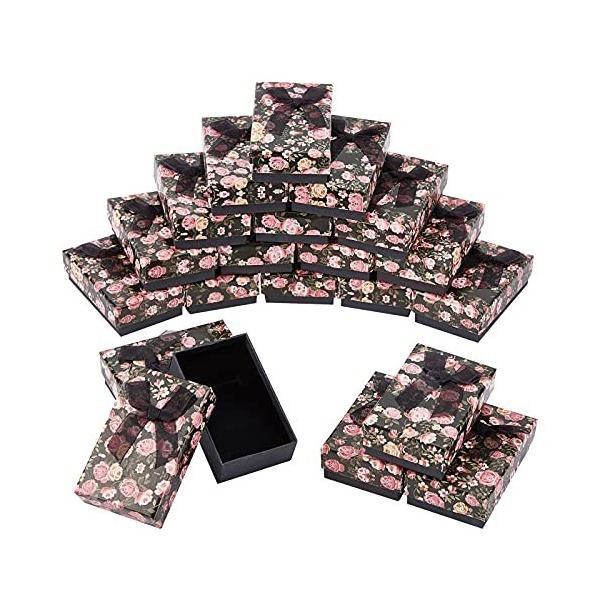 nbeads ギフトボックス 20個セット 8x5x2.6cm バラ柄 アクセサリー紙箱 2スロット アクセサリーケース リボンボウ