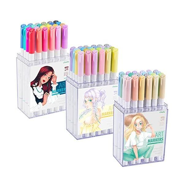 Ohuhu 水性マーカー 72色 淡い色+濃い色 ふで・細 イラストマーカー アートマーカーペン 水彩ペン 水性 ふでタ