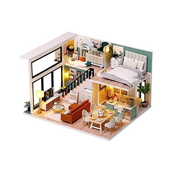 CUTEROOM ドールハウス キット ミニチュアハウス 木製ドールハウス オルゴール LEDライト付き 防塵カバー付き (