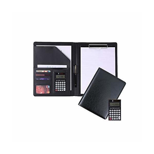 SUNGRAN バインダー a4 二つ折り クリップボード レザー 名刺 カード 入れ 電卓付き ペンホルダー 多機能 ファイ