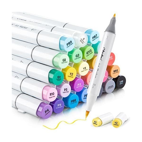 Ohuhu マーカーペン 24色 筆・細字 イラストマーカー 筆タイプ 筆先 ふでタイプ ブレンダーペン付き 鮮やか 手