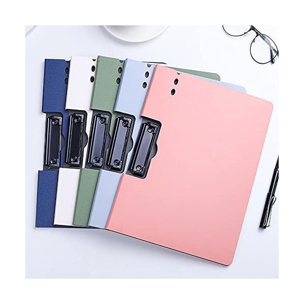a4 クリップボード バインダー A4 おしゃれ 二つ折り 5色セット書類ケース オフィス用品 業務 仕事 事務用 (横