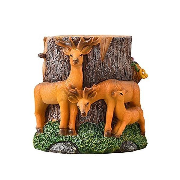 ペンスタンド 鹿型 樹脂 10×11cm 420g 文房具 筆立て 小物収納 雑貨 おしゃれ かわいい 机上