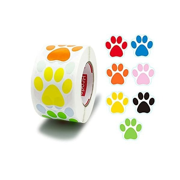 Hcode 犬の肉球柄の円形ステッカー 直径38mm 1ロール500枚 (7色サイクル)
