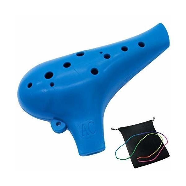 オカリナ 楽器 12穴 アルトプラスチック C調 AC Ocarina 吹奏管 樹脂 (ブルー)