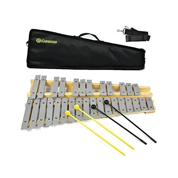 ENNBOM 鉄琴 30音 グロッケン 折り畳み マレット4本 収納ケース付き 卓上鉄琴