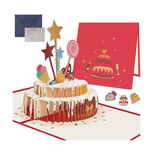 誕生日カード 立体 ケーキ バースデ カード グリーティングカード 立体カード 3Dバースデーカード メッセージ