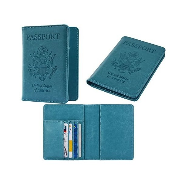 RFID Blocking Leather Passport Holder Wallet Case Cover PU For Men and Women パスポートケース ホルダー トラベルウォレット ス