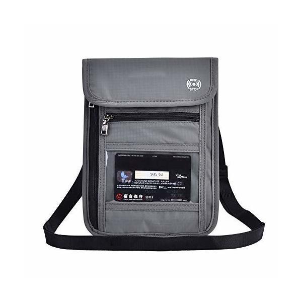 パスポートバッグ 防水性 耐久性 柔軟 多機能旅行パスポートネックポーチ RFIDパスポートホルダー