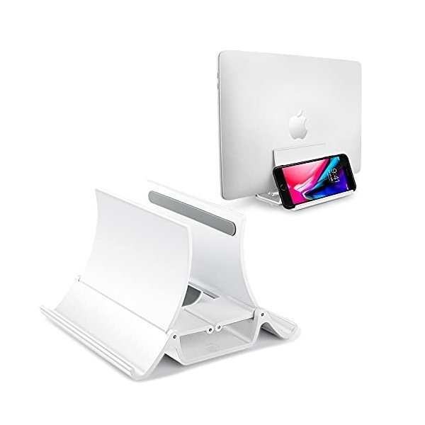 ノートパソコン スタンド 縦置き 自動サイズ調整 Phone ホルダー 多機能収納 ABS素材 AOKE Vertical Laptop&Phone&iPad Stan