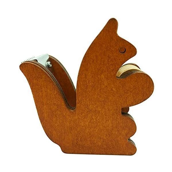 テープカッター 木製 かわいい小さなリスの形 ブラウン セロテープ台 ミニ マスキングテープカッター(7cm×3.