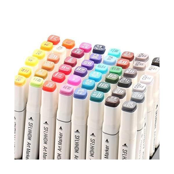 マーカーペン 油性 アートマーカー イラスト 筆 速乾性 カラーペン 塗り絵 水彩ペン 発色良い 太細 両端 筆先