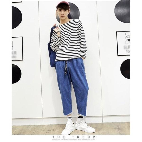 デニムパンツ 9分丈パンツ ワイドパンツ カジュアルパンツ ジーンズ ジーパン メンズパンツ ゆったり リラックス 切ばなし 体型カバー |shin-8|03