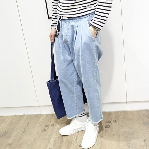 デニムパンツ 9分丈パンツ ワイドパンツ カジュアルパンツ ジーンズ ジーパン メンズパンツ ゆったり リラックス 切ばなし 体型カバー |shin-8|05