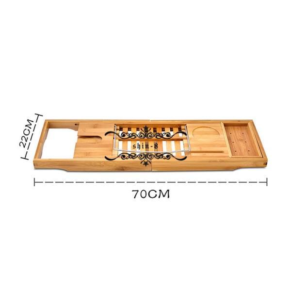 バスタブトレー テーブル 浴室 竹製 ラック 収納 バスタブラック バステーブル お風呂用 バスグッズ 伸縮式 (70-105.5)x22cm 竹製|shin-8|04