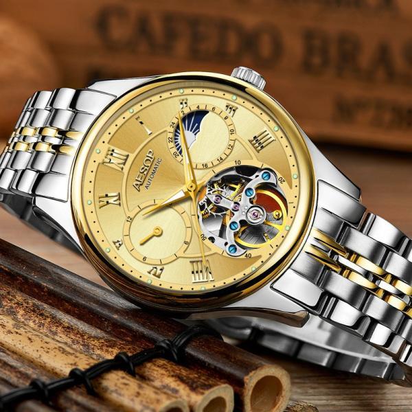 腕時計 クロノグラフ メンズ 30m防水 Aesop腕時計 自動巻上げ式 オールステンレス うでどけい ブランド 機械式 shin-8 02
