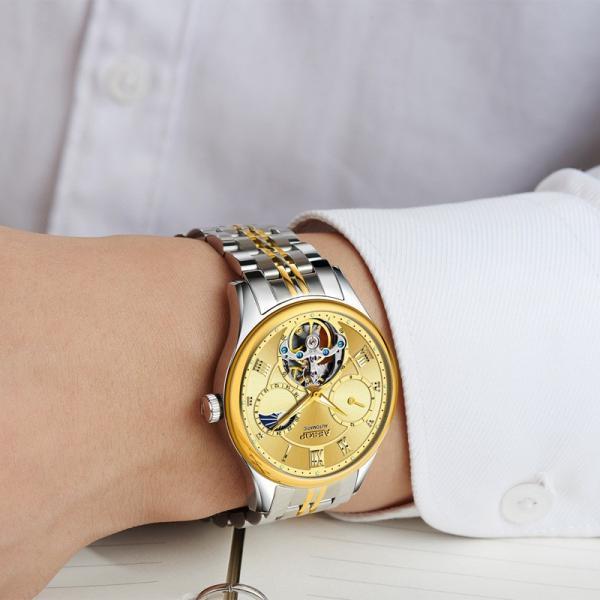 腕時計 クロノグラフ メンズ 30m防水 Aesop腕時計 自動巻上げ式 オールステンレス うでどけい ブランド 機械式 shin-8 03