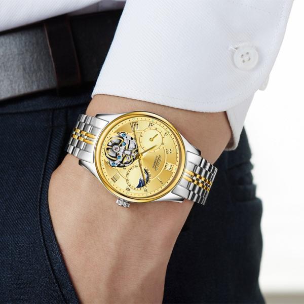 腕時計 クロノグラフ メンズ 30m防水 Aesop腕時計 自動巻上げ式 オールステンレス うでどけい ブランド 機械式 shin-8 04