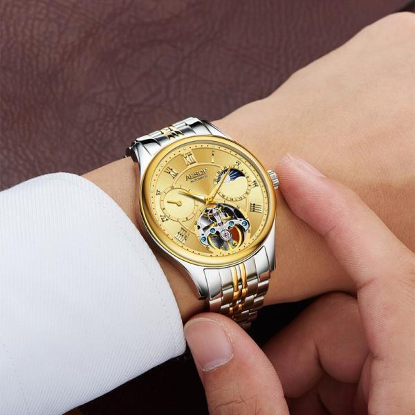 腕時計 クロノグラフ メンズ 30m防水 Aesop腕時計 自動巻上げ式 オールステンレス うでどけい ブランド 機械式 shin-8 05