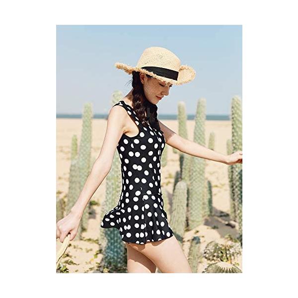 レディーズ 水着 3点セット スイムウエア セパレート 長袖 フィットネス 帽子付き 女性 ピンク (ブラック M(40-45kg))|shining-store|02