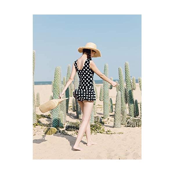 レディーズ 水着 3点セット スイムウエア セパレート 長袖 フィットネス 帽子付き 女性 ピンク (ブラック M(40-45kg))|shining-store|03