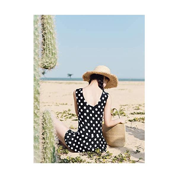レディーズ 水着 3点セット スイムウエア セパレート 長袖 フィットネス 帽子付き 女性 ピンク (ブラック M(40-45kg))|shining-store|04