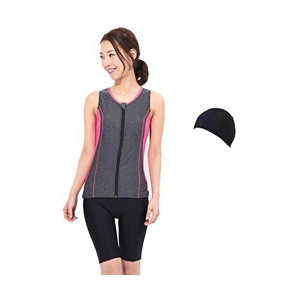 (ラクア)LAQUA 帽子付レディースフィットネスセパレート水着 (グレー 23LL)|shining-store