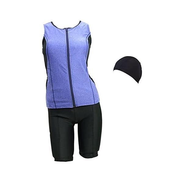 (ラクア)LAQUA 帽子付レディースフィットネスセパレート水着 (ブルー 17LL)|shining-store