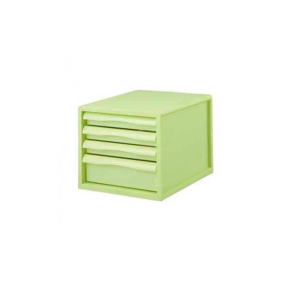 ナカバヤシ FIT COLOR A4レターケース4段 GN グリーン A4E-FC04-GN