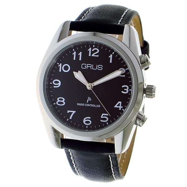 グルス GRUS ボイス電波腕時計 トーキングウォッチ クオーツ  腕時計 GRS003-03 ブラック/シルバー ブラック shiningstore-life 02