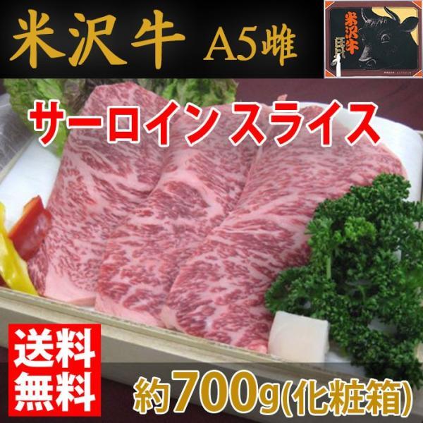 【送料無料】米沢牛 サーロイン スライス 最高級(A-5 メス) 約700g(化粧箱)
