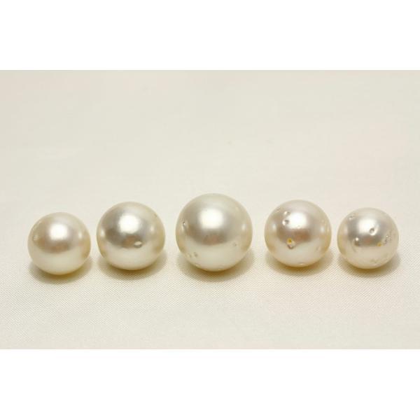 南洋白蝶真珠パールルース 両穴 5ピース 14-11mm ホワイトカラー