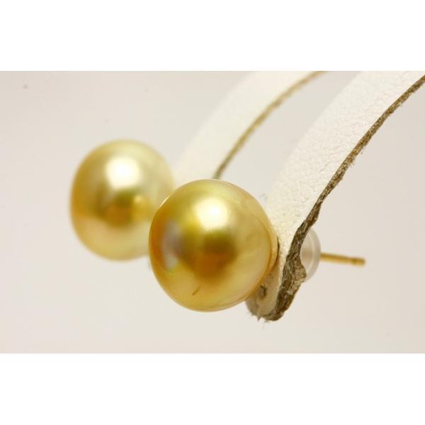南洋白蝶真珠パールピアス 11mm ナチュラルゴールドカラー K18製