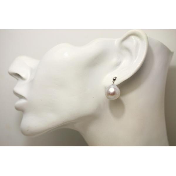 南洋白蝶真珠パールブラピアス 13mm ホワイトピンクカラー K14WG製