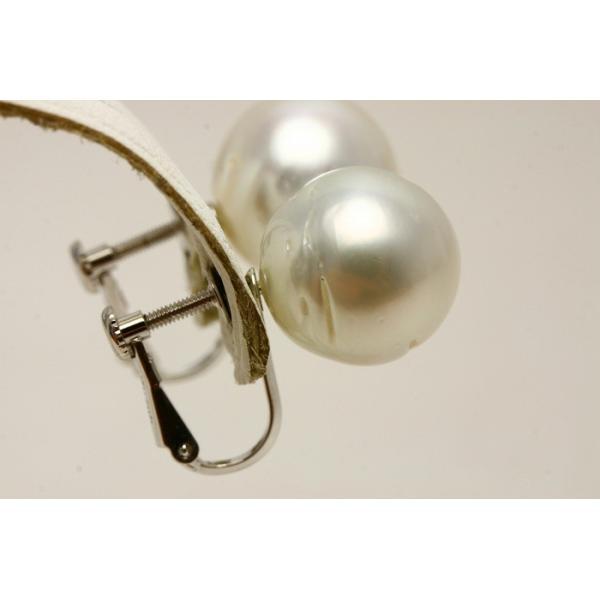 南洋白蝶真珠パールネジバネ式イヤリング 13mm ホワイトカラー シルバー製