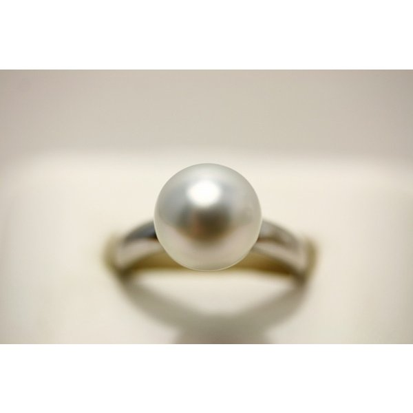 南洋白蝶真珠パールリング【指輪】 9mm ホワイトカラー シルバー製リング枠