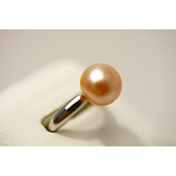 淡水真珠パールリング【指輪】 10mm オレンジカラー シルバー製