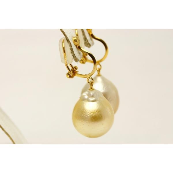南洋白蝶真珠パールクリップ式ブライヤリング 13mm ナチュラルゴールドカラー シルバー製