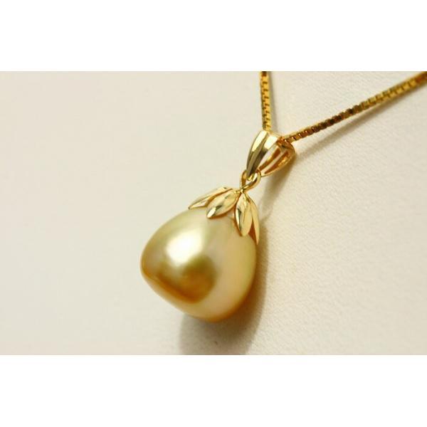 南洋白蝶真珠パールペンダントトップ 11mmUP ナチュラルゴールドカラー K18製